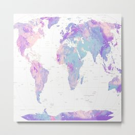 Unicorn Earth Map Metal Print