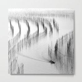 Fishing and Bamboos Metal Print