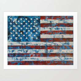 American Flag Distresssed Art Print