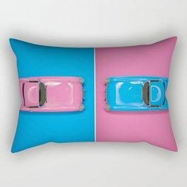 Cars Story - Pink on Blue & Reverse Rectangular Pillow