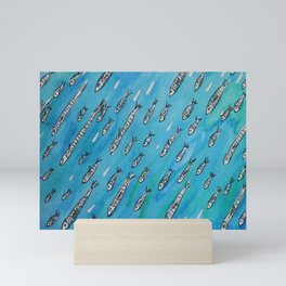 Sardinhas - watercolour and ink sardine pattern Mini Art Print