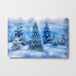 Christmas tree scene Metal Print