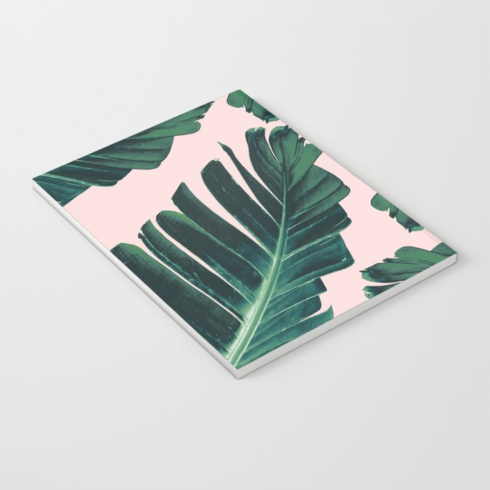 Tropical Blush Banana Leaves Dream #1 #decor #art #society6 Notebook