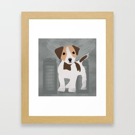 Jack Russel Dog in brown and white color Framed Art Print