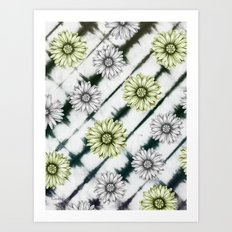 Green Daisies Smile Art Print