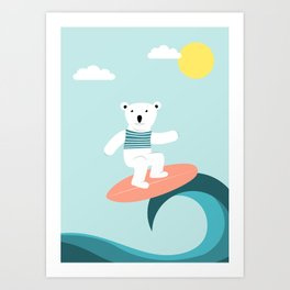 Polar bear surfing. Art Print