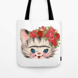 Frida Catlo Vintage Retro Cat Old Skool Tote Bag