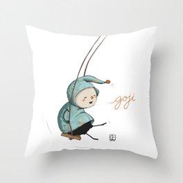 Goji on the swing Throw Pillow