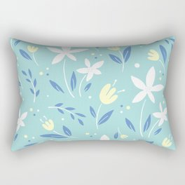 sea kiss floral blue summer flowers pattern Rectangular Pillow