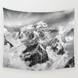 Denali Massif from the Air - Denali & Foraker Wall Tapestry