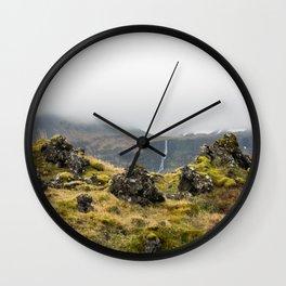 Lava Rocks and Waterfall Wall Clock
