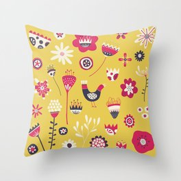 Scandi Floral Yellow Throw Pillow