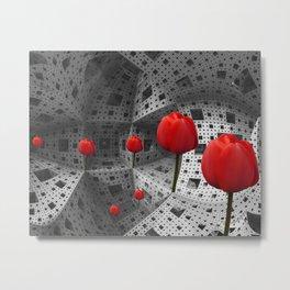 red tulips in Menger's Sponge Metal Print