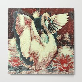 WHITE SWAN BROWNS & GREY  MODERN ART DESIGN Metal Print