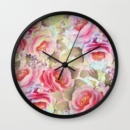 floral in soft pink,blue and green Wall Clock