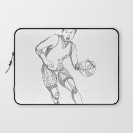 Female Basketball Player Doodle Art Laptop Sleeve