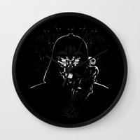 daenerys Wall Clocks featuring Cyborg Face by kattie flynn