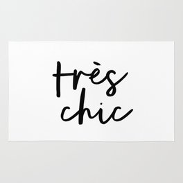 Tres Chic black and white monochrome typography poster design home wall bedroom decor canvas Rug