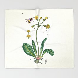 yellow cowslip and bee Throw Blanket