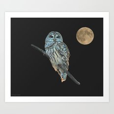 Owl, See the Moon Art Print