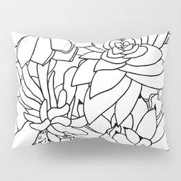 Succulent Line Drawing Pillow Sham