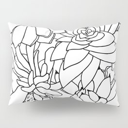 Succulent Line Drawing Pillow Sham