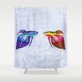 Mosaic Betas Siamese Fighting Fish on Mottled Blue Water Shower Curtain
