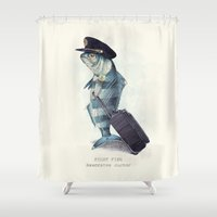 plain Shower Curtains featuring The Pilot by Eric Fan