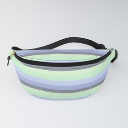 Pastel Blue Green Gray stripeS Fanny Pack