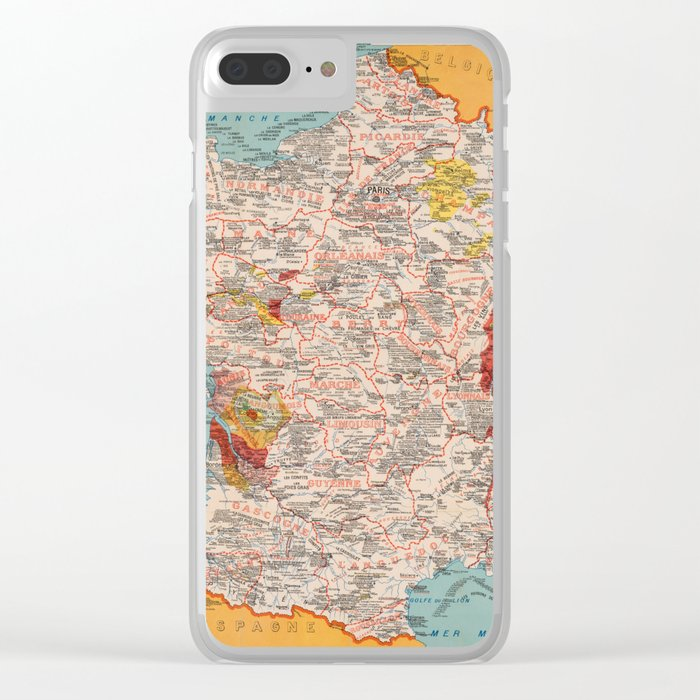 Clear Map Of France.Gastronomy Map Of France 1932 Clear Iphone Case By Lydiadavid
