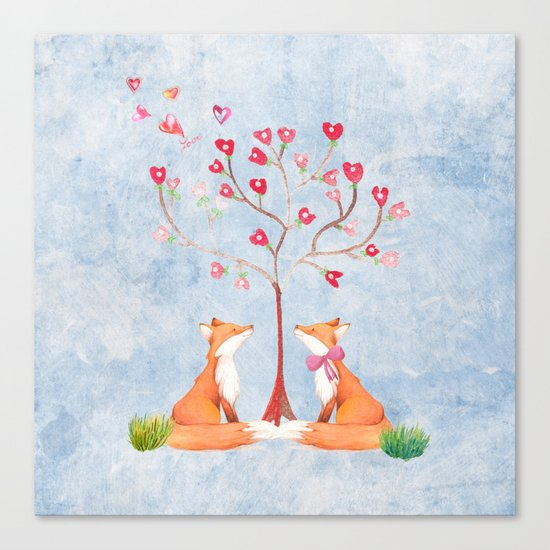 Fox love- foxes animal nature _ Watercolor illustration on #Society6 Canvas Print