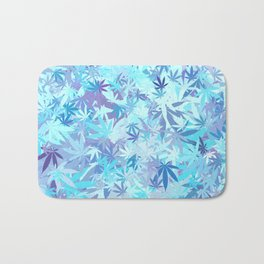 Marijuana Cannabis Weed Pot Shades of Blue Bath Mat