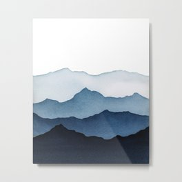 Blue Mountains in Watercolor Metal Print