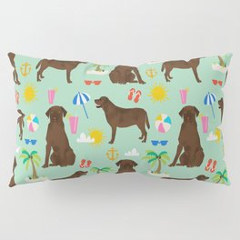 Chocolate Lab labrador retriever dog breed beach summer vacation dog gifts Pillow Sham