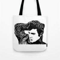 elvis presley Tote Bags featuring Elvis Presley by Hippy Hoo Ha