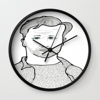 kerouac Wall Clocks featuring Jack Kerouac wearing his words by daniel davidson