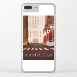 New York Manhattan watercolor Clear iPhone Case