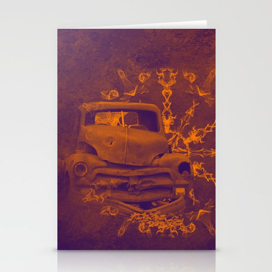 Abstract rusty car in purple and orange Stationery Cards ...