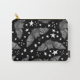 Creepy Cute Black and White Bat Pattern Carry-All Pouch
