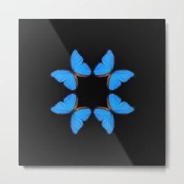 Blue Morpho Butterfly Symmetry Metal Print