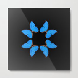 Blue Morpho Butterfly Symmetry Metal Print