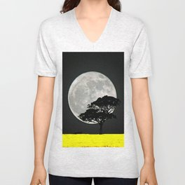 Lone Tree And Moon. Unisex V-Neck