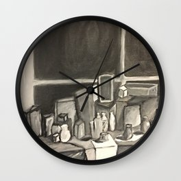 As Time Passes in Black and White Wall Clock