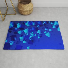 Sea explosive pattern of rhombuses and squares at the depth of the blue ocean. Rug
