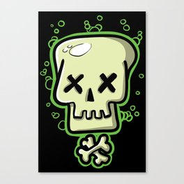 Toxic skull and crossbones green Canvas Print