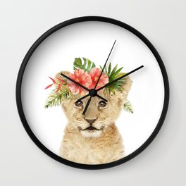 Baby Lion with Flower Crown Wall Clock