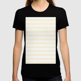 Narrow Horizontal Stripes - White and Cornsilk Yellow T-shirt