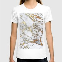 white marble T-shirts featuring Gold Marble by Jenna Davis Designs