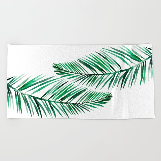 Tropical Exotic Palm Leaves on #Society6 Beach Towel