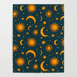 Vintage Sun and Star Print in Navy Poster
